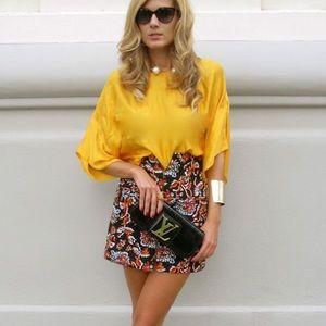 NEW Zara Floral Black Exposed Zip Back Mini Skirt